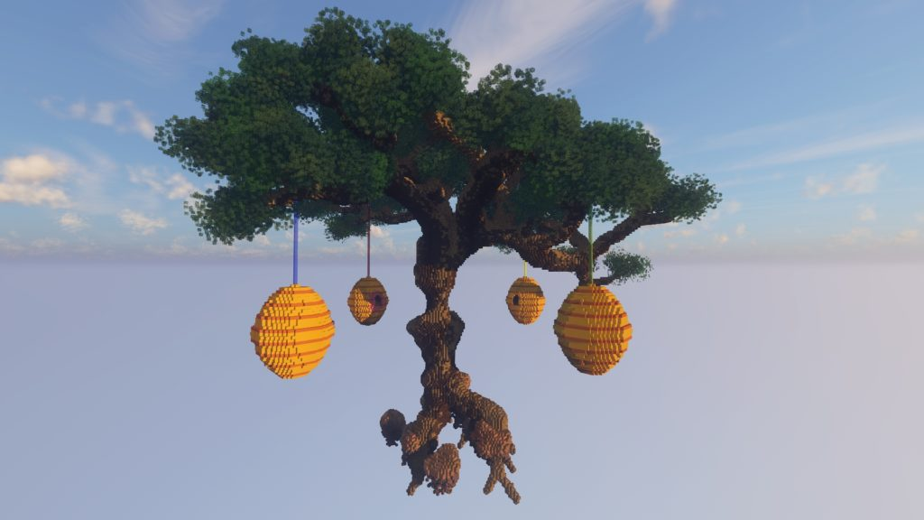Oversized beehives tree minigame Bedwars