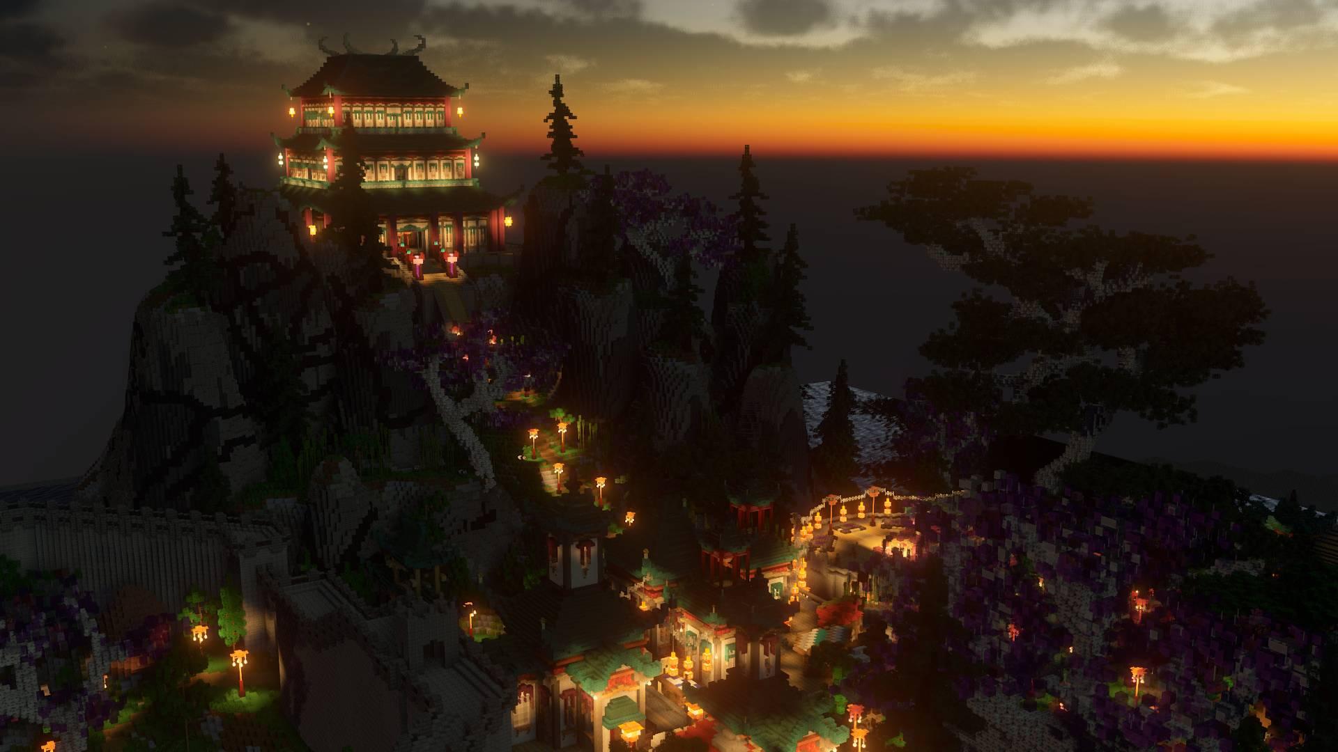 asian oriental plaza temple at night